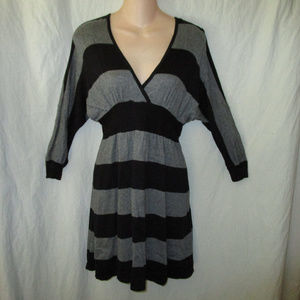 Express S Black Gray Stripe Dolman Sweater Dress